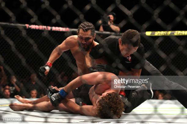 Jorge Masvidal finishes Ben Askren in their welterweight fight during the UFC 239 event at TMobile Arena on July 6 2019 in Las Vegas Nevada