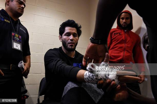 Jorge Masvidal gets his hands wrapped backstage during the UFC 217 event inside Madison Square Garden on November 4 2017 in New York City
