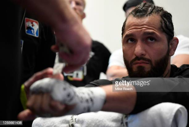 Jorge Masvidal has his hands wrapped prior to his fight during the UFC 251 event at Flash Forum on UFC Fight Island on July 12, 2020 on Yas Island,...