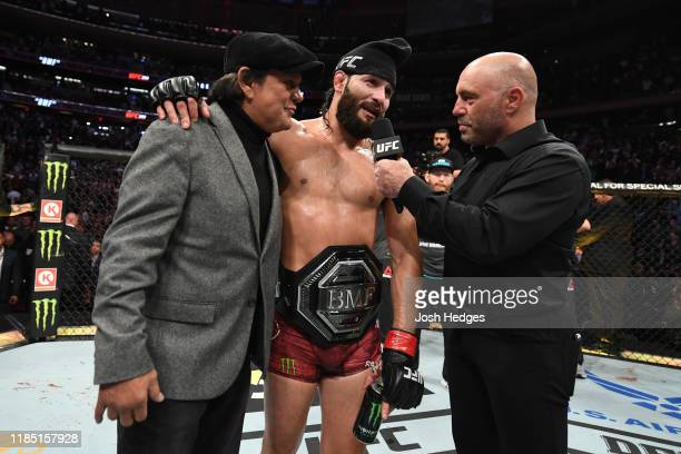 Jorge Masvidal is interviewed after his victory over Nate Diaz in their welterweight bout for the BMF title during the UFC 244 event at Madison...