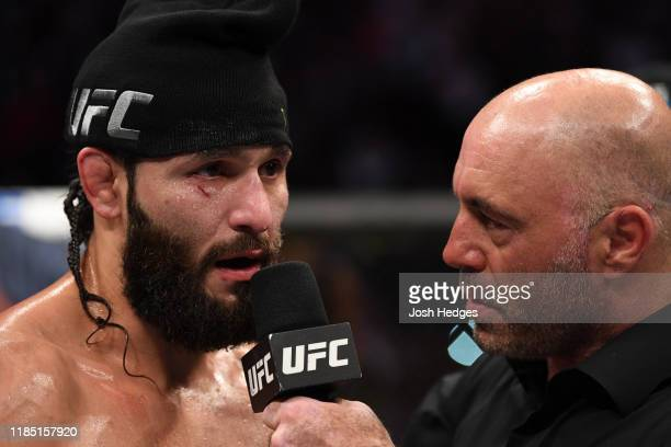 Jorge Masvidal is interviewed by Joe Rogan after his victory over Nate Diaz in their welterweight bout for the BMF title during the UFC 244 event at...