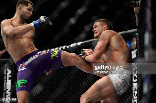 Jorge Masvidal kicks Daron Cruickshank in their lightweight bout during the UFC Fight Night event at the SAP Center on July 26 2014 in San Jose...