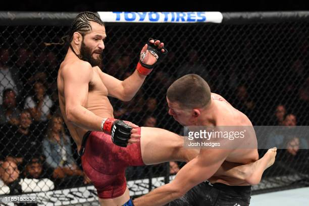 Jorge Masvidal kicks Nate Diaz in their welterweight bout for the BMF title during the UFC 244 event at Madison Square Garden on November 02 2019 in...