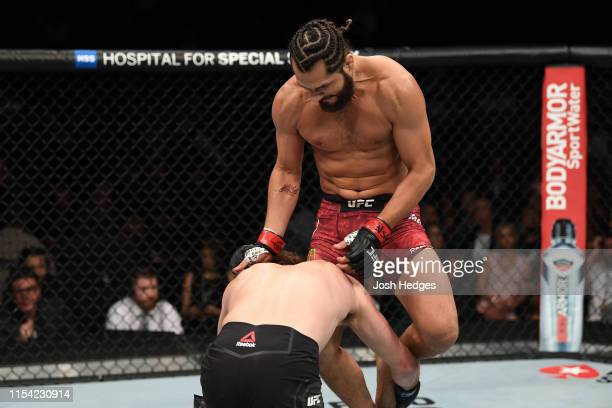 Jorge Masvidal knees Ben Askren in their welterweight fight during the UFC 239 event at TMobile Arena on July 6 2019 in Las Vegas Nevada