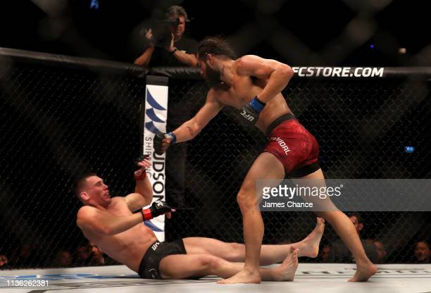 Jorge Masvidal knocks out Darren Till during the Welterweight bout between Darren Till and Jorge Masvidal at The O2 Arena on March 16 2019 in London...