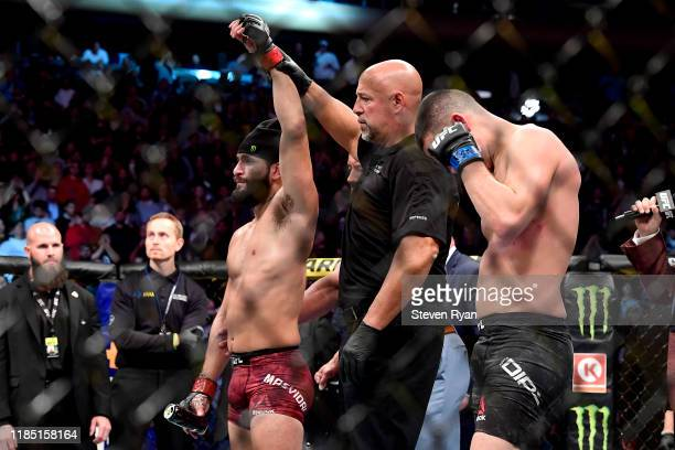 "Jorge Masvidal of the United States is awarded victory by TKO on a medical stoppage against Nate Diaz of the United States in the Welterweight ""BMF""..."