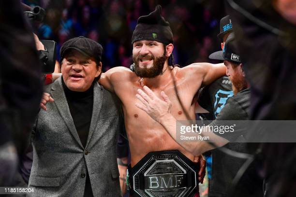 Jorge Masvidal of the United States is awarded victory by TKO on a medical stoppage against Nate Diaz of the United States in the Welterweight BMF...