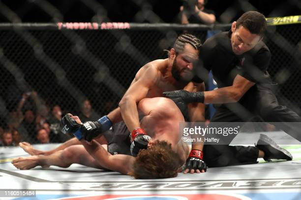 Jorge Masvidal of the United States knocks out Ben Askren of the United States during their UFC 239 Welterweight Bout at TMobile Arena on July 06...