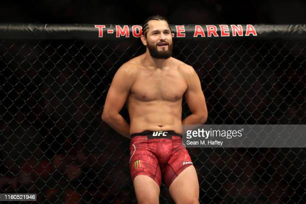 Jorge Masvidal of the United States looks on during a UFC 239 Welterweight Bout against Ben Askren of the United States at TMobile Arena on July 06...