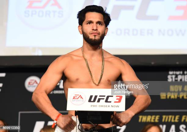 Jorge Masvidal poses on the scale during the UFC 217 weighin inside Madison Square Garden on November 3 2017 in New York City