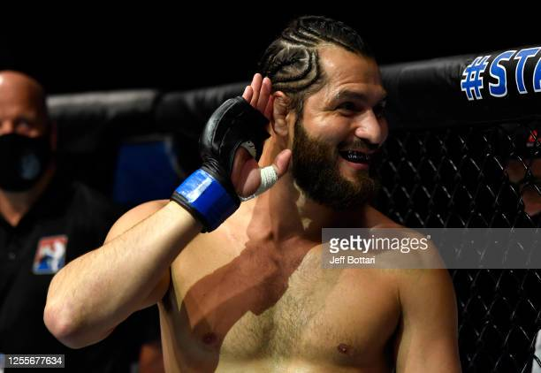 Jorge Masvidal prepares to fight Kamaru Usman in their UFC welterweight championship fight during the UFC 251 event at Flash Forum on UFC Fight...