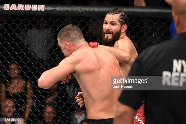 Jorge Masvidal punches Nate Diaz in their welterweight bout for the BMF title during the UFC 244 event at Madison Square Garden on November 02 2019...