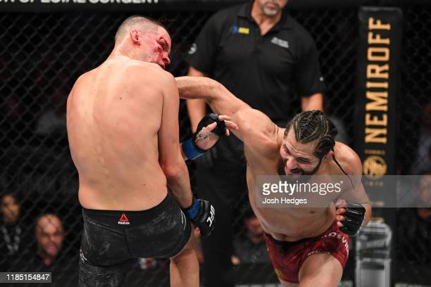 Jorge Masvidal punches Nate Diaz in their welterweight bout for the BMF title during the UFC 244 event at Madison Square Garden on November 02, 2019...