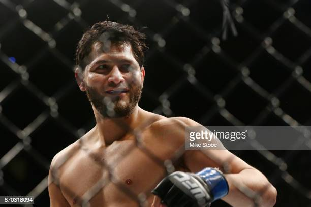 Jorge Masvidal reacts during his welterweight bout against Stephen Thompson during the UFC 217 event at Madison Square Garden on November 4 2017 in...