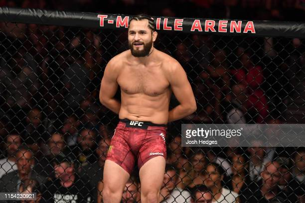 Jorge Masvidal rests against the cage following his welterweight fight during the UFC 239 event at TMobile Arena on July 6 2019 in Las Vegas Nevada