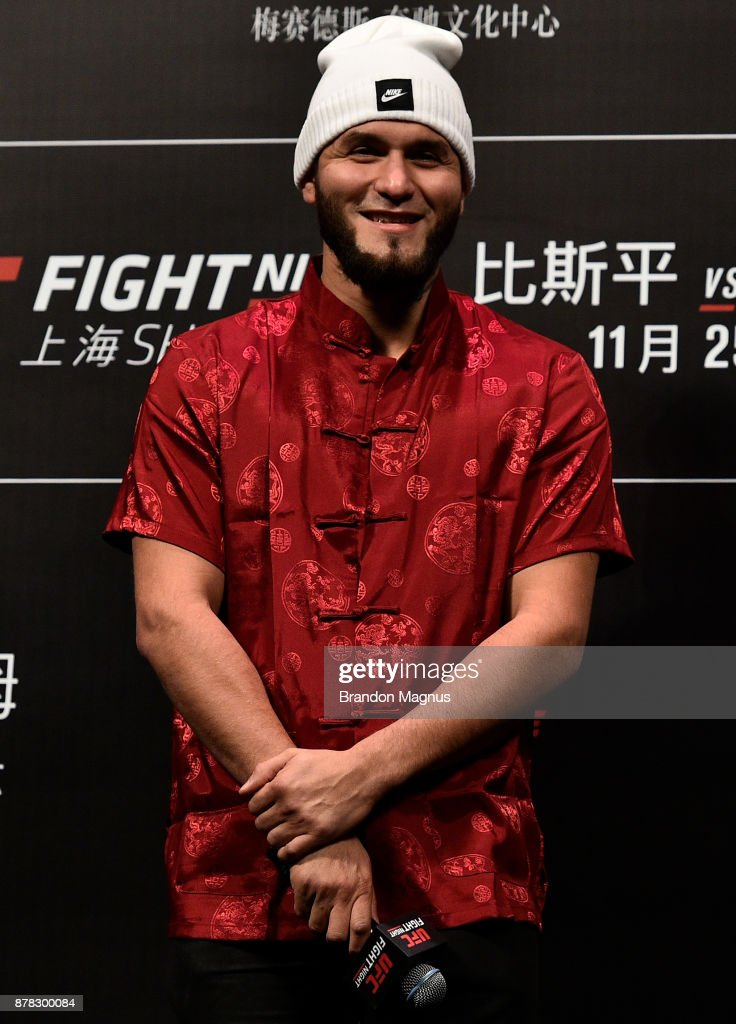 Jorge Masvidal speaks to the fans and media during a Q&A before the UFC Fight Night weigh-in on November 24, 2017 in Shanghai, China.