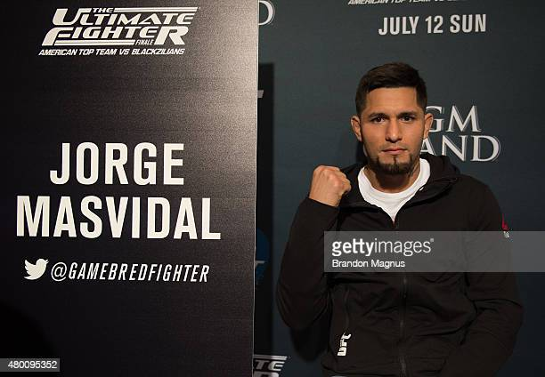 Jorge Masvidal speaks to the media during the UFC 189 TUF Finale Ultimate Media Day at MGM Grand Hotel Casino on July 9 2015 in Las Vegas Nevada