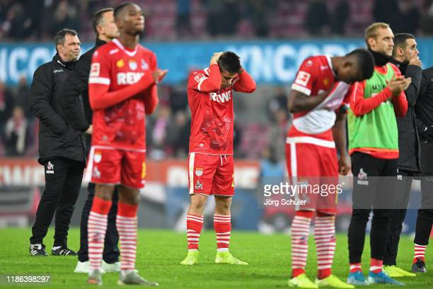 Jorge Mere of 1 FC Koeln looks dejected following his team's defeat in the Bundesliga match between 1 FC Koeln and TSG 1899 Hoffenheim at...