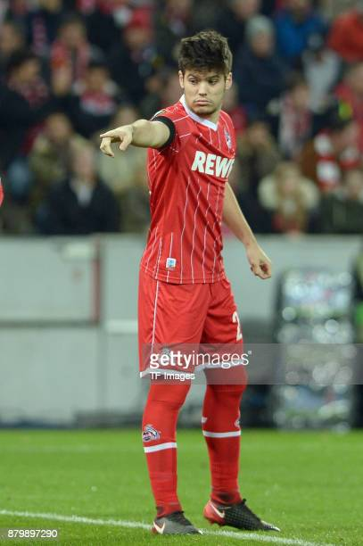 Jorge Mere of Cologne gestures during the UEFA Europa League Group H soccer match between 1FC Cologne and Arsenal FC at the RheinEnergie stadium in...