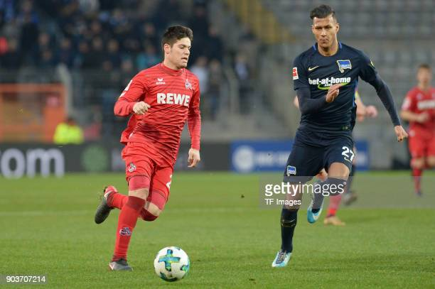 Jorge Mere of Koeln and Davie Selke of Hertha battle for the ball during the HHotelscom Wintercup match between Hertha BSC and 1 FC Koeln at...