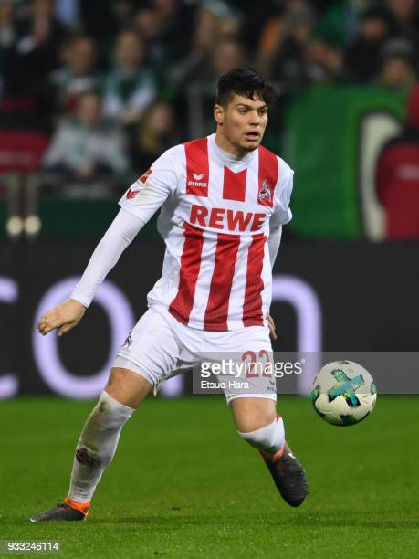 Jorge Mere of Koeln in action during the Bundesliga match between SV Werder Bremen and 1 FC Koeln at Weserstadion on March 12 2018 in Bremen Germany