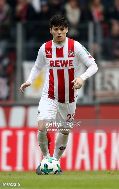 Jorge Mere of Koeln runs with the ball during the Bundesliga match between 1 FC Koeln and VfB Stuttgart at RheinEnergieStadion on March 4 2018 in...