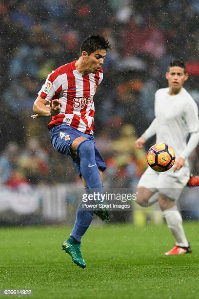 Jorge Mere of Real Sporting de Gijon in action during the La Liga match between Real Madrid and Real Sporting de Gijon at the Santiago Bernabeu...