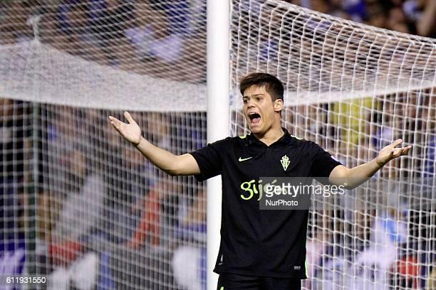 Jorge Mere of Sporting de Gijon reacts during the La Liga Santander match between Real Club Deportivo de La Coruna vs Real Sporting De Gijon at...