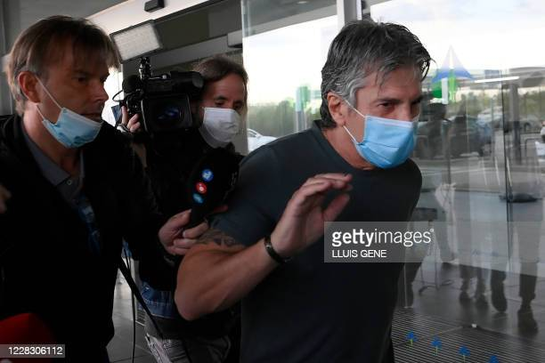 Jorge Messi, father and agent of Lionel Messi arrives at the Barcelona airport on September 02, 2020. - Lionel Messi boycotted Barcelona's first...