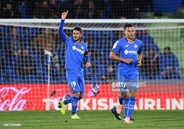 Jorge Molina of Getafe celebrates after scoring his team's first goal during the La Liga match between Getafe CF and RCD Espanyol at Coliseum Alfonso...