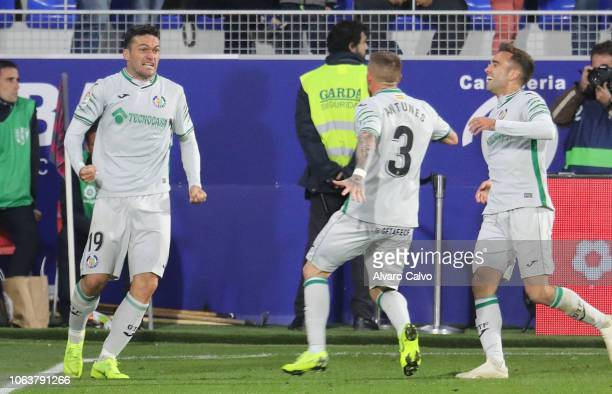 Jorge Molina of Getafe celebrates goal during the La Liga match between SD Huesca and Getafe at El Alcoraz on November 5 2018 in Huesca Spain