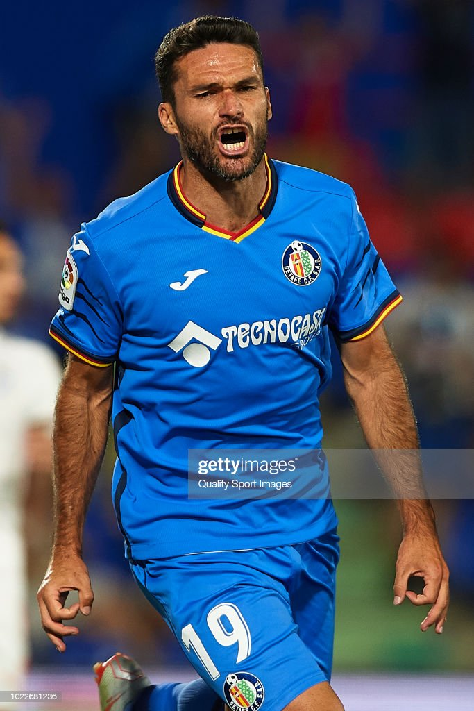 Jorge Molina of Getafe CF celebrates scoring his team's second goal during the La Liga match between Getafe CF and SD Eibar at Coliseum Alfonso Perez on August 24, 2018 in Getafe, Spain.