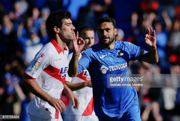 Jorge Molina of Getafe CF celebrates scoring their second goal during the La Liga match between Getafe CF and Deportivo Alaves at Coliseum Alfonso...