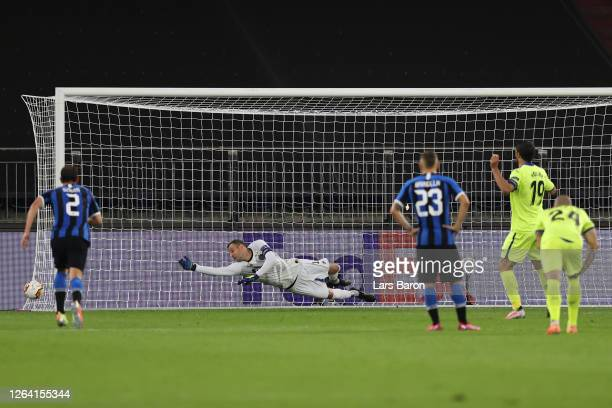 Jorge Molina of Getafe takes and misses a penalty during the UEFA Europa League round of 16 singleleg match between FC Internazionale and Getafe CF...
