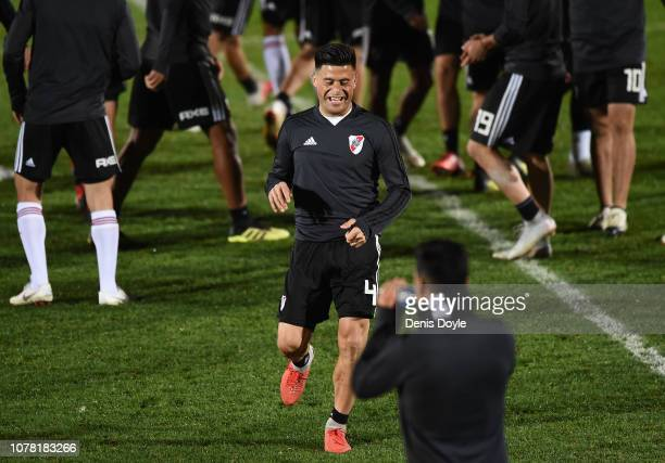 Jorge Moreira of River Plate laughs during a training session at Ciudad Real Madrid training grounds ahead of the all-Argentine Copa Libertadores...