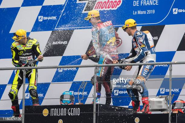 Jorge Navarro of Spain and Ego Speed Up Alex Marquez of Spain and EG 00 Marc VDS and Augusto Fernandez of Spain and FlexiBox HP40 celebrate on the...