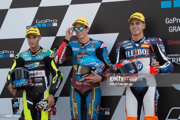 Jorge Navarro of Spain and Ego Speed Up Alex Marquez of Spain and EG 00 Marc VDS Augusto Fernandez of Spain and FlexiBox HP40 pose at the end of the...