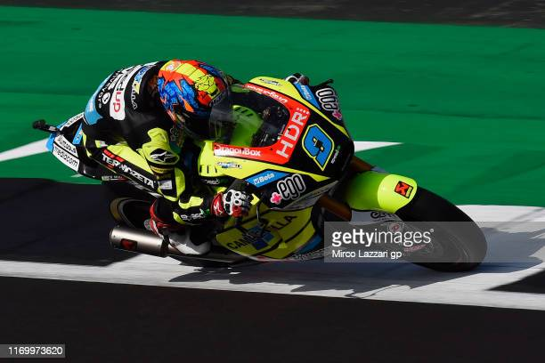 Jorge Navarro of Spain and Ego Speed Up heads down a straight during the British GP Moto2 qualifying at Silverstone Circuit on August 24 2019 in...