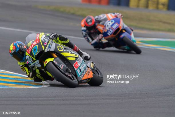 Jorge Navarro of Spain and Ego Speed Up leads the field during the Moto2 race during the MotoGp of France Race on May 19 2019 in Le Mans France