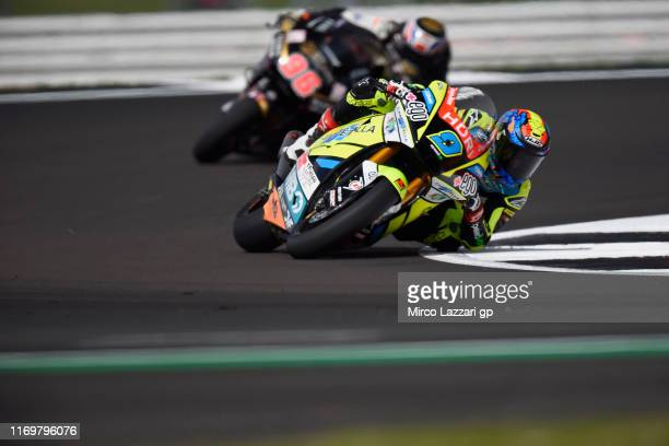 Jorge Navarro of Spain and Ego Speed Up leads the field during the MotoGp Of Great Britain Free Practice at Silverstone Circuit on August 23 2019 in...