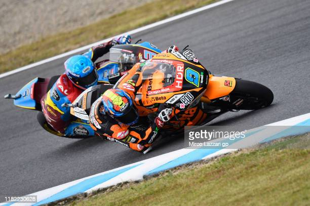 Jorge Navarro of Spain and Ego Speed Up leads the field during the Moto2 race during the MotoGP of Japan Race at Twin Ring Motegi on October 20 2019...