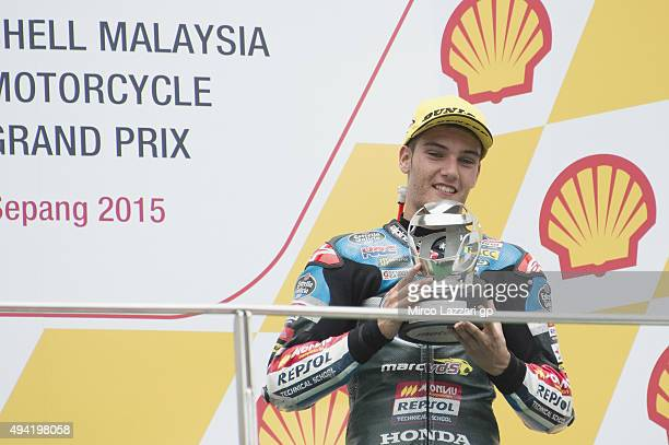 Jorge Navarro of Spain and Estrella Galicia 00 celebrates the third place on the podium at the end of the Moto3 race during the MotoGP Of Malaysia at...