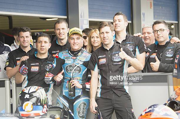 Jorge Navarro of Spain and Estrella Galicia 00 celebrates the third place at the end of the qualifying practice during the MotoGp of Spain Qualifying...