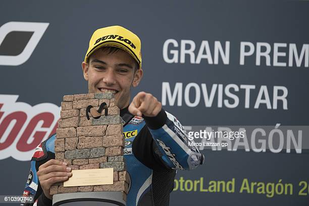 Jorge Navarro of Spain and Estrella Galicia 00 celebrates the victory on the podium at the end of the Moto3 race during the MotoGP of Spain Race at...