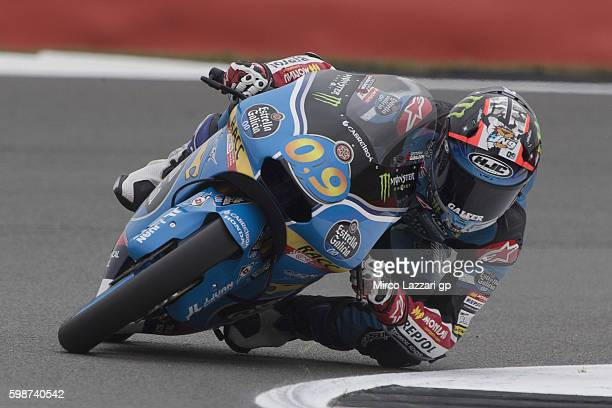 Jorge Navarro of Spain and Estrella Galicia 00 rounds the bend during the MotoGp Of Great Britain Free Practice at Silverstone Circuit on September 2...