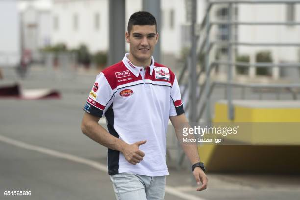 Jorge Navarro of Spain and Federal Oil Gresini Moto2 greets and walks in paddock during the Moto2 And Moto3 Tests In Losail at Losail Circuit on...
