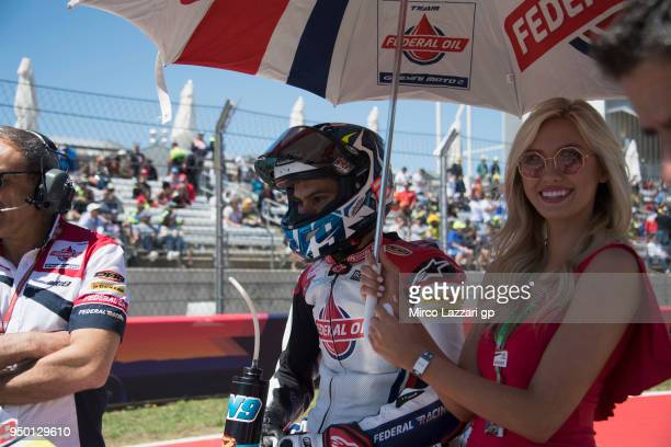 Jorge Navarro of Spain and Federal Oil Gresini Moto2 prepares to start on the grid during the Moto2 race during the MotoGp Red Bull US Grand Prix of...