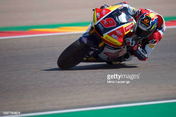 Jorge Navarro of Spain and Federal Oil Gresini Moto2 rounds the bend during the qualifying practice during the MotoGP of Aragon Qualifying at...