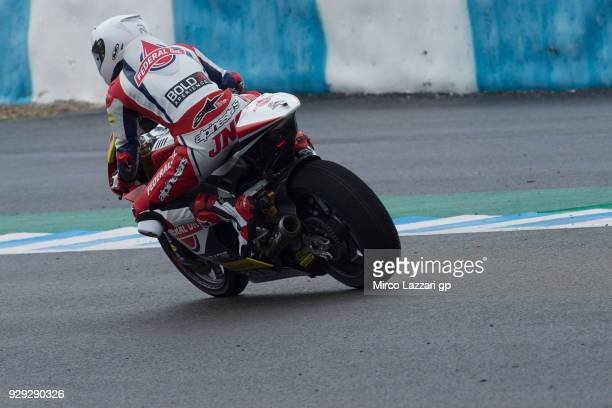 FRONTERA SPAIN MARCH Jorge Navarro of Spain and Federal Oil Gresini Moto2 rounds the bend during the Moto2 Moto3 Tests In Jerez at Circuito de Jerez...