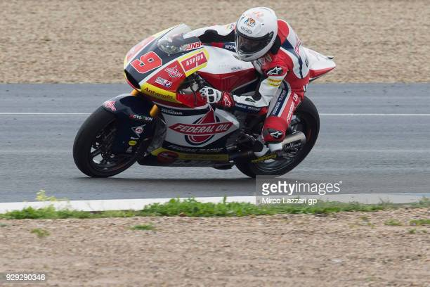 Jorge Navarro of Spain and Federal Oil Gresini Moto2 rounds the bend during the Moto2 Moto3 Tests In Jerez at Circuito de Jerez on March 8 2018 in...